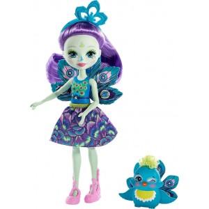 Enchantimals Κούκλα και Ζωάκι Φιλαράκι Patter Peacock & Flap (FXM74/DVH87)