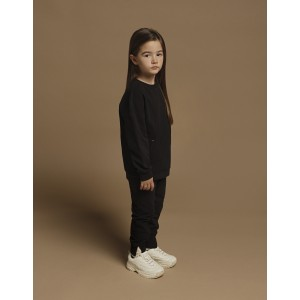Παντελόνι Φούτερ Μαύρο με Διπλό Ριμπ (42170248022)