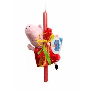 Λαμπάδα Peppa Pig 30εκ. με κόκκινο φόρεμα (202102)