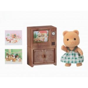 Sylvanian Families Bear sister with TV set (5143)