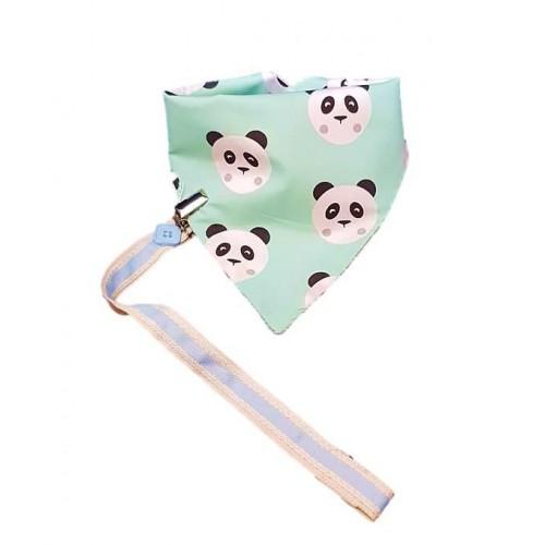 Σαλιάρα μεγάλη Panda με κλιπ πιπίλας (338Β01)