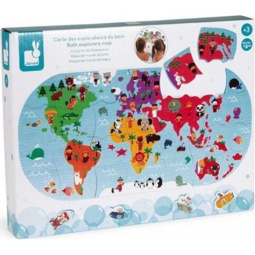 Puzzle μπάνιου 28τεμ. Παγκόσμιος Χάρτης με ζώα (04719)