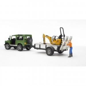 Τζιπ Land Rover με καρότσα και εκσκαφέα (02593)