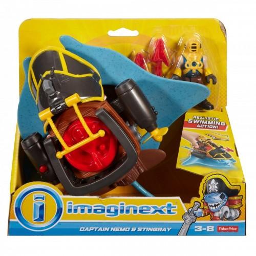 Imaginext Πειρατικό Πλοιάριο Captain Nemo and Stingray με Φιγούρα (DHH64/DHH66)