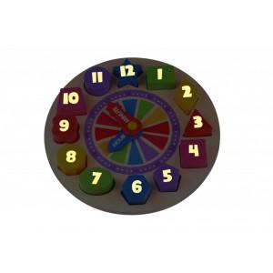 Ρολόι ξύλινο με σχήματα φωσφορούχο (TKF042)