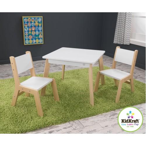 Τραπέζι με 2 καρέκλες λευκό (27025)