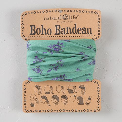 Boho Bandeau Light Teal Green with Purple Roses (50381)