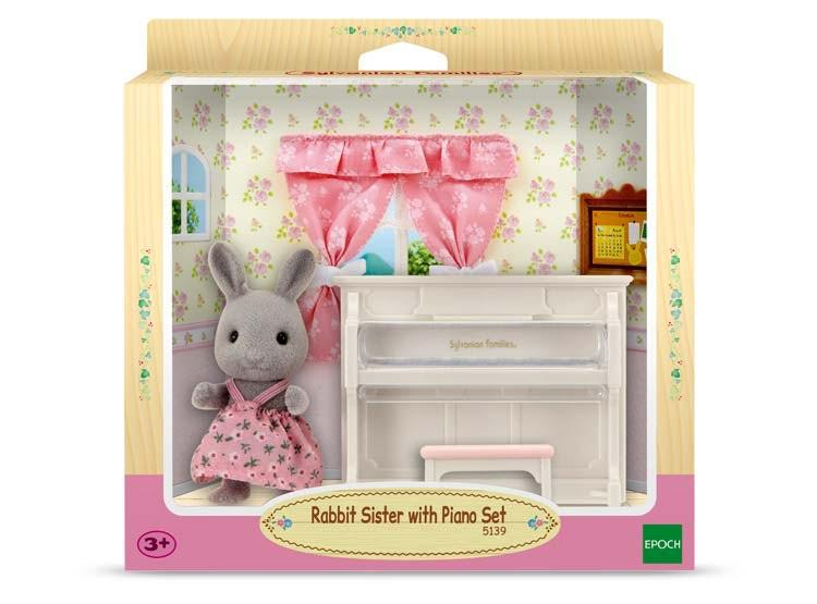Sylvanian Families Rabbit Sister with Piano set